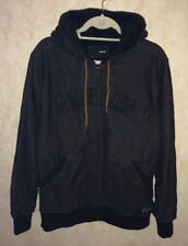 New Mens M HURLEY Lumber King Black Sherpa Full Zip Fleece Lined Hoodie Jacket