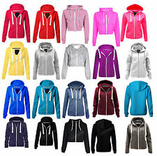 Womens Ladies Plain Hoodie Zipper Sweatshirt Jacket Top Zip Top Plus Sizes S-5XL