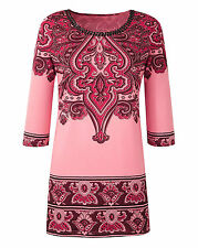 Coral Red Black Ottoman Paisley Print Embellished Summer Tunic Top Size 16 - 30