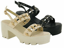 LADIES WOMENS CHUNKY SOLE MID BLOCK HEEL PLATFORM SHOES GLADIATOR SANDAL