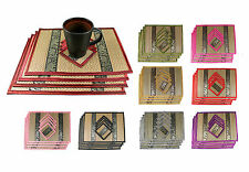 Thai Wicker Reed Silk Cotton Placemats & Coasters 4 Piece Dinner Table Set New