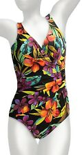 NWT MSRP $150 - MIRACLESUIT KRISTEN One-Piece Swimsuit,  Black Floral, Size 14