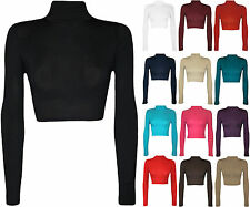 New Women Long Sleeve Turtle Neck Cropped Plain Polo Short Stretch Top Sweater