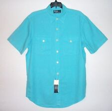 NWT $89.50 - Men's POLO by RALPH LAUREN Linen Cotton Short Sleeve Shirt, AQUA