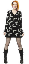 Women's Sourpuss Batty Sweater Dress Black Bats Goth Punk Psychobilly