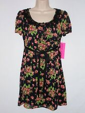 NWT BETSEY JOHNSON Women's Floral Dress, Short Sleeve, Black Multicolor, $138