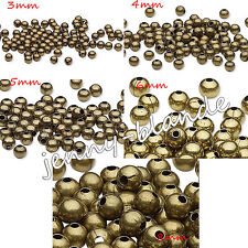 Jewelry Finding 20/50pcs Bronze Steel Metal Round Loose Spacer Beads 3/4/5/6/8mm