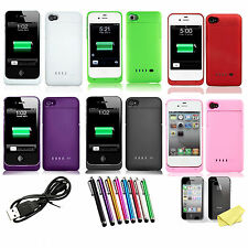 1900mAh External Rechargeable Backup Battery Charger Case Cover For iPhone 4S 4