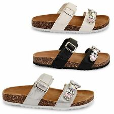 WOMENS LADIES DOLCIS FOOTBED SUDED INSOLE FLAT SLIP ON MULE SANDALS SHOES SIZE