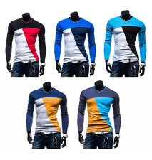 Mens Fashion Slim Fit Cotton V-Neck Long Sleeve Casual T-Shirt Tops Hot 5 Color