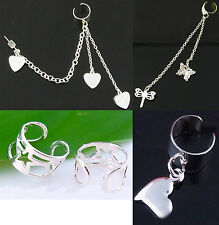HEART, BUTTERFLY, DRAGON FLY STAR EARCUFF, EAR CUFF WITH STUD SILVER PLATED