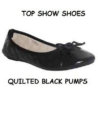 NEW LADIES BALLERINA PUMPS DOLLY SHOES OFFICE SCHOOL WORK FLAT BLACK WOMENS SIZE