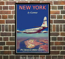 Pan Am New York Clipper Airline Travel Poster [6 sizes, matte+glossy available]