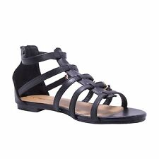 WOMENS LADIES FLAT GLADIATOR SUMMER SANDALS STRAPPY BLACK BEACH STUD ZIP SHOES