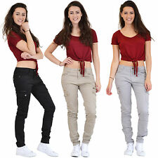 New Ladies Womens Slim Fitted Stretch Combat Jeans Pants Skinny Cargo Trousers
