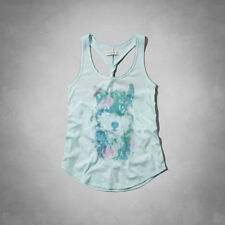 Abercrombie & Fitch Hailey Graphic Tank Top Womens Light Turquoise Blue New NWT