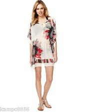 New M&S White Pink Black Floral Sequin Kaftan Beach Cover Up Sz UK Small 8-10