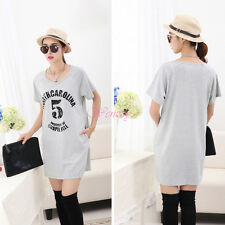 Cotton Loose T-shirt Casual Maternity Dress Summer Clothes Wear for Women Girl