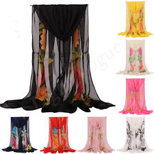 Fashion Girls Womens Flowers Long Soft Wrap Lady Shawl Silk Chiffon Scarf New