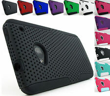 for HTC One M7+ Pry Tool Rubberized Grip Mesh Hard/Soft Case Cover Accessory