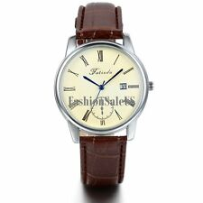 Men's Roman Numerals Analog Quartz with Date Causal Wrist Watch Leather Band New