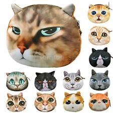 Women Cat Face Printed Coin Purse Wallet 3D Digital Animal Chic Clutch Hand Bag