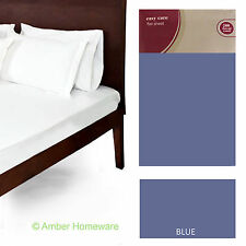 100% EGYPTIAN COTTON FLAT SINGLE DOUBLE SUPERKING BLUE SHEET 200 THREAD COUNT