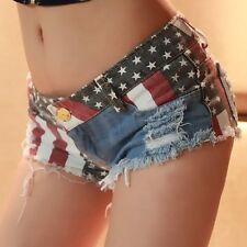 Sexy Women Denim Low Rise US Flag Mini Jeans Shorts Hot Pants UK Size 6 8 10