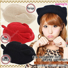 New Womens Xmas Knit Cap Warm Beanie Ball Devil Cat Ear Crochet Ski Hat 28