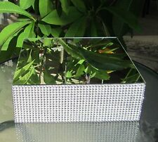 """Rhinestone Mesh 12"""" Square x 4"""" tall Wedding Cake Stand with a Mirror on Top"""