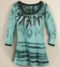 Seventh Avenue Feather Sublimation Tunic Top NEW Teal Black Southwestern