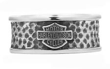 Harley Davidson Men's Dark Silver Textured Band Ring Size 9 10 11 Sterling HD