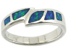 925 Sterling Silver Women Fire Blue Opal Ring