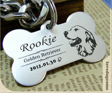 Custom Personalized Deep Engraved Stainless Steel Pet ID Tags Cat Dog Name Tag