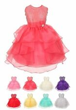 Girls 6-10 Organza Rhinestuds Bow Flower Girl Dress, Made in USA, Many Colors