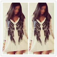 Fashion Women Lady Long Sleeve Casual Loose Angel Wing Print T-Shirt Blouse Tops