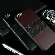 For iPhone 6 4.7 Plus 5.5 PU Leather Hybrid TPU w/Carbon Fiber Strips Case Cover