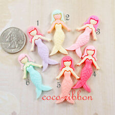 12~50pcs 42mm Mermaid Girl Princess Flatback Resin Cabochon - 6 colors
