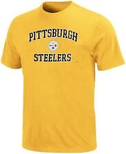 Pittsburgh Steelers NFL Name and Logo T Shirt Yellow Men's Big & Tall Sizes