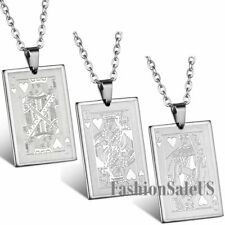Stainless Steel Poker Cards Heart  J Q K Pendant Men's Cool Necklace With Chain