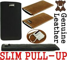 SLIM & FINISHED METAL STRIP REAL GENUINE LEATHER POCKET CASE COVER SLEEVE POUCH