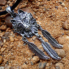 Wolf Dog Feather Indian Native American Talisman Amulet Dream Catcher Key Chain