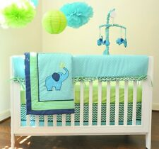 10 pc Elephant Crib Bedding Set Nursery Green Blue Comforter Baby Boy Girl Quilt