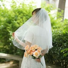 Simple Soft 2 Tier White Ivory Chapel Wedding Bridal Elbow Short Veil with Comb