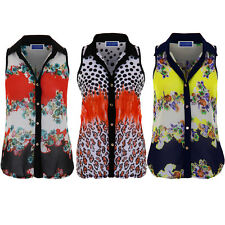 Womens Floral Leopard Contrast Semi Sheer High Low Button Up Collar Shirt Blouse