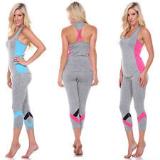 Fashion Women's Sports Activewear Workout Summer Yoga Set Stretch Top Bottom