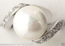 Charming! 8mm White South Sea Shell Pearl Bead Crystal Ring size 7 8 9