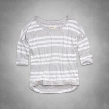 Abercrombie & Fitch Clara Tee Womens Gray Striped Shirt Relaxed Fit New NWT
