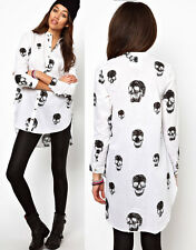 New Vintage Women's Dovetail skull Head Chiffon Loose Casual Tops Shirt Blouse