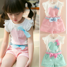 Sweet Children Baby Girls Clothing Cotton Top + Plaid Shorts Suits Set 2-6T I